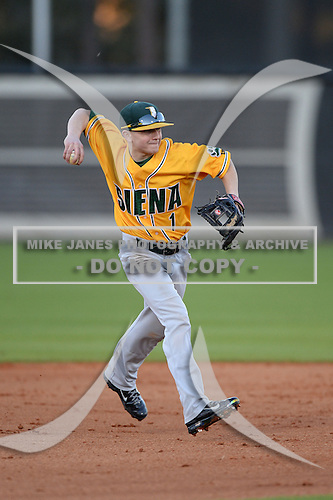 Siena Saints shortstop Tyler Martis (1) during warmups before the season opening game against the Central Florida Knights at Jay Bergman Field on February 14, 2014 in Orlando, Florida.  UCF defeated Siena 8-1.  (Copyright Mike Janes Photography)