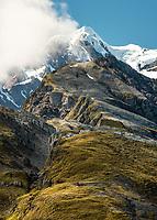 Second highest peak of Southern Alps, Mount Tasman 3,497m from Mt. Fox, Westland Tai Poutini National Park, West Coast, UNESCO World Heritage Area, New Zealand, NZ