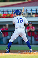 Logan Moon (18) of the Burlington Royals at bat against the Danville Braves at Burlington Athletic Park on July 5, 2014 in Burlington, North Carolina.  The Royals defeated the Braves 5-4.  (Brian Westerholt/Four Seam Images)