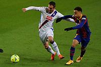 29th December 2020; Camp Nou, Barcelona, Catalonia, Spain; La Liga Football, Barcelona versus Eibar;  Quique SD Eibar forward and Sergino Dest FC Barcelona defender challenge for the ball