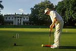 Croquet at the Hurlingham Club West London England Open Championship held in August.    1985.  1980s UK.