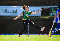Central's Rosemary Mair bowls during the women's Dream11 Super Smash T20 cricket match between the Central Hinds and Auckland Hearts at Pukekura Park in New Plymouth, New Zealand on Thursday, 31 December 2020. Photo: Dave Lintott / lintottphoto.co.nz