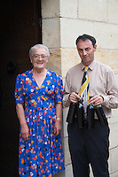 Rose Noelle Borde owner and Denis Pomarede winemaker couvent des jacobins saint emilion bordeaux france