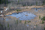 PHOTO CREDIT MUST BE INCLUDED.ONE TIME USE DO NOT ARCHIVE.May 5, 2011 - Evi, Alberta, Canada - Crews work to clean up at Rainbow Pipeline's oil spill, the worst Alberta oil spill in 35 years, dumping 28, 000 barrels of oil into a wetland area at Evi, Alberta which is near Little Buffalo, Alberta, Canada. Rainbow Pipeline is owned by a Canadian subsidiary of Houston-based Plains All American Pipeline L.P. PHOTO BY Jimmy Jeong / www.jimmyshoots.com