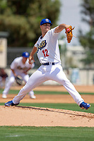 Rancho Cucamonga Quakes Andrew Sopko (12) delivers a pitch to the plate against the Visalia Rawhide at LoanMart Field on May 13, 2018 in Rancho Cucamonga, California. The Quakes defeated the Rawhide 3-2.  (Donn Parris/Four Seam Images)