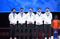 SPEEDSKATING: DORDRECHT: 07-03-2021, ISU World Short Track Speedskating Championships, Podium 5000m Relay, John Henry Krueger, Alex Varnyu, Shaolin Sandor Liu, Shaoang Liu (HUN), ©photo Martin de Jong