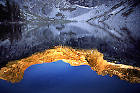 Reflected alpine glow on the high sierra peaks above Hamilton Lake in Sequoia National Park ,California