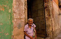 Havana capitol city of Cuba with local old woman portraits in their neighborhood in the city