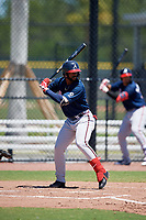 Atlanta Braves Henry Quintero (43) during a Minor League Extended Spring Training game against the Tampa Bay Rays on April 15, 2019 at CoolToday Park Training Complex in North Port, Florida.  (Mike Janes/Four Seam Images)