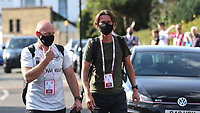 Brentford's Assistant Head Coach, Brian Riemer and Brentford Manager, Thomas Frank arrive at the ground wearing their face masks ahead of kick-off during Brentford vs Barnsley, Sky Bet EFL Championship Football at Griffin Park on 22nd July 2020