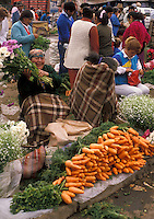 AJ2112, market, Chile, Temuco, Happy local woman selling fresh flowers at the market in Temuco in the South-Central Region (Land of Lakes and Volcanoes) in Chile.