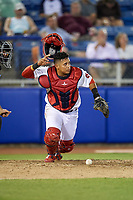 Salem Red Sox catcher Isaias Lucena (39) chases down a loose ball during a game against the Lynchburg Hillcats on May 10, 2018 at Haley Toyota Field in Salem, Virginia.  Lynchburg defeated Salem 11-5.  (Mike Janes/Four Seam Images)