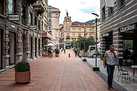 Chiasso, corso San Gottardo. Credit Suisse, Monn, Tissot
