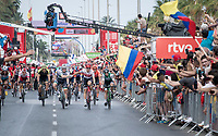 Sam Bennett (IRL/Bora-Hansgrohe) wins the bunch sprint into Alicante<br /> <br /> Stage 3: Ibi. Ciudad del Juguete to Alicante (188km)<br /> La Vuelta 2019<br /> <br /> ©kramon