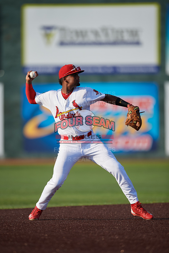 Johnson City Cardinals shortstop Moises Castillo (7) throws to first base during a game against the Danville Braves on July 29, 2018 at TVA Credit Union Ballpark in Johnson City, Tennessee.  Johnson City defeated Danville 8-1.  (Mike Janes/Four Seam Images)