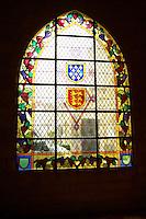 stained glass windows couvent jacobins, salle dominicains saint emilion bordeaux france