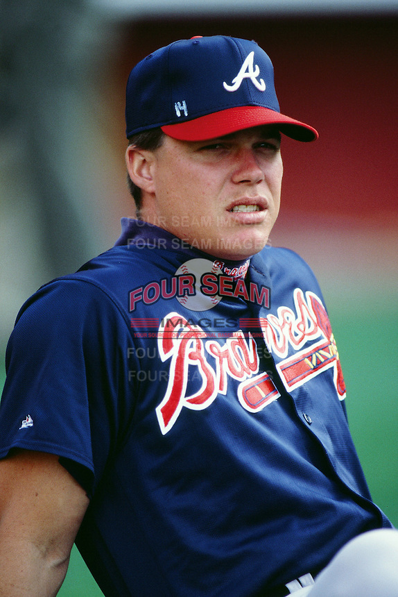 Chipper Jones of the Atlanta Braves during a game against the Los Angeles Dodgers at Dodger Stadium circa 1999 in Los Angeles, California. (Larry Goren/Four Seam Images)