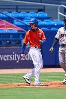 St. Lucie Mets Pete Crow-Armstrong (4) smiles as he rounds third during a game against the Jupiter Hammerheads on May 5, 2021 at Clover Park in St. Lucie, Florida.  (Mike Janes/Four Seam Images)
