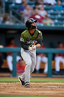 Biloxi Shuckers center fielder Corey Ray (1) follows through on a swing during a game against the Jacksonville Jumbo Shrimp on June 8, 2018 at Baseball Grounds of Jacksonville in Jacksonville, Florida.  Biloxi defeated Jacksonville 5-3.  (Mike Janes/Four Seam Images)