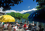 Italy, Lombardy, Lake Garda, Limone: cafe terrace at the lake