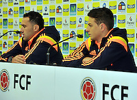 SAO PAULO Cotia- BRASIL -10-06-2014. David Ospina (Izq) y Santiago Arias (Der) Jugadores de la selección de fútbol de Colombia durante la rueda de prensa en Cotia previo a su primer partido ante Grecia en la Copa Mundial de la FIFA Brasil 2014./ David Ospina (L) and Santiago Arias (R) players of the Colombia National Soccer Team during the press conference in Cotia prior their first match against Grece in the 2014 FIFA World Cup Brazil. Photo: VizzorImage / Alfredo Gutiérrez / Cont