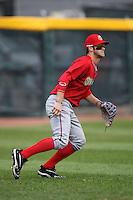 Harrisburg Senators outfielder Bryce Harper #34 tracks a fly ball during a game against the Erie SeaWolves at Jerry Uht Park on August 7, 2011 in Erie, Pennsylvania.  Harrisburg defeated Erie 6-1.  (Mike Janes/Four Seam Images)