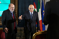 Umberto Eco e Giorgio Napolitano<br /> Roma 28-11-2014 Quirinale. Incontro 'L'Europa della cultura'.<br /> Meeting Europe of culture at Quirinale<br /> Photo Samantha Zucchi Insidefoto