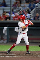 Auburn Doubledays Ricardo Mendez (3) at bat during a NY-Penn League game against the Mahoning Valley Scrappers on August 27, 2019 at Falcon Park in Auburn, New York.  Auburn defeated Mahoning Valley 3-2 in ten innings.  (Mike Janes/Four Seam Images)