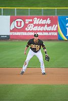 Marc Krauss (39) of the Salt Lake Bees on defense against the Tacoma Rainiers in Pacific Coast League action at Smith's Ballpark on May 7, 2015 in Salt Lake City, Utah.  (Stephen Smith/Four Seam Images)