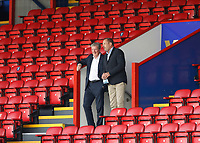 5th September 2020; Selhurst Park, London, England; Pre Season Friendly Football, Crystal Palace versus Brondby; Crystal Palace Manager Roy Hodgson talking to Joshua Harris who owns an 18% stake in Crystal Palace during the pre match warm up from the stands