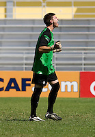 Maxime Crepeau (1) of Canda celebrates after the quarterfinals of the CONCACAF Men's Under 17 Championship at Catherine Hall Stadium in Montego Bay, Jamaica. Canada defeated Trinidad & Tobago, 2-0.