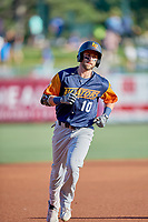 Dustin Fowler (10) of the Las Vegas Aviators circles the bases after hitting a home run against the Salt Lake Bees at Smith's Ballpark on July 20, 2019 in Salt Lake City, Utah. The Aviators defeated the Bees 8-5. (Stephen Smith/Four Seam Images)