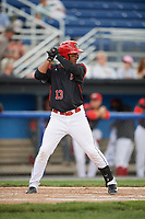 Batavia Muckdogs center fielder Jhonny Santos (13) at bat during a game against the West Virginia Black Bears on June 25, 2017 at Dwyer Stadium in Batavia, New York.  Batavia defeated West Virginia 4-1 in nine innings of a scheduled seven inning game.  (Mike Janes/Four Seam Images)