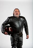 Feb 6, 2020; Pomona, CA, USA; NHRA top fuel nitro Harley Davidson motorcycle rider Mike Scott poses for a portrait during NHRA Media Day at the Pomona Fairplex. Mandatory Credit: Mark J. Rebilas-USA TODAY Sports