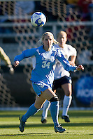 North Carolina Tar Heels defender Mandy Moraca (34). The North Carolina Tar Heels defeated the Notre Dame Fighting Irish 2-1 during the finals of the NCAA Women's College Cup at Wakemed Soccer Park in Cary, NC, on December 7, 2008. Photo by Howard C. Smith/isiphotos.com