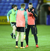 2nd February 2021; Rugby Park, Kilmarnock, East Ayrshire, Scotland; Scottish Premiership Football, Kilmarnock versus Celtic; Jonjoe Kenny of Celtic chats to Ryan Christie of Celtic