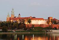 Poland, Krakow, Wawel, Royal Castle, and Vistula River