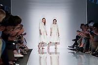 """Le stiliste di Esme Vie Julia Voitenko e Daria Golevko, a destra, finaliste del progetto """"Who is on next?"""" durante la rassegna Altaroma a Roma, 8 luglio 2013.<br /> Esme Vie's designers Julia Voitenko and Daria Golevko, right, finalists of """"Who is on next?"""" project  during the Altaroma fashion week in Rome, 8 July 2013.<br /> UPDATE IMAGES PRESS/Virginia Farneti"""