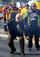 Aug. 17, 2013; Brainerd, MN, USA: Jesse James , husband of NHRA funny car driver Alexis DeJoria (not pictured) during qualifying for the Lucas Oil Nationals at Brainerd International Raceway. Mandatory Credit: Mark J. Rebilas-
