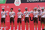 AG2R Citroen Team at sign on before the start of Stage 6 of the 2021 UAE Tour running 165km from Deira Island to Palm Jumeirah, Dubai, UAE. 26th February 2021.  <br /> Picture: Eoin Clarke   Cyclefile<br /> <br /> All photos usage must carry mandatory copyright credit (© Cyclefile   Eoin Clarke)