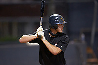 Joe Tolone (31) (Emory & Henry) of the Concord A's at bat against the Mooresville Spinners at Moor Park on July 31, 2020 in Mooresville, NC. The Spinners defeated the Athletics 6-3 in a game called after 6 innings due to rain. (Brian Westerholt/Four Seam Images)