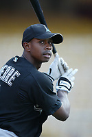 Juan Pierre of the Florida Marlins during a 2003 season MLB game at Dodger Stadium in Los Angeles, California. (Larry Goren/Four Seam Images)