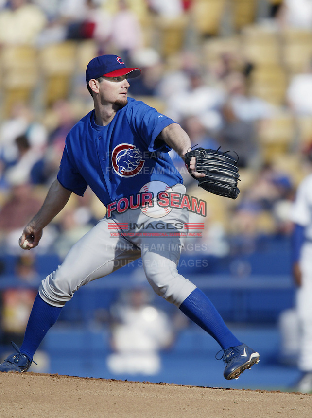 Matt Clement of the Chicago Cubs pitches during a 2002 MLB season game against the Los Angeles Dodgers at Dodger Stadium, in Los Angeles, California. (Larry Goren/Four Seam Images)