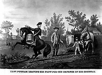 Genl. Putman Leaving his Plow for the Defence of his Country.  1775. Copy of lithograph.   (George Washington Bicentennial Commision)<br /> Exact Date Shot Unknown<br /> NARA FILE #:  148-GW-441<br /> WAR & CONFLICT #:  13