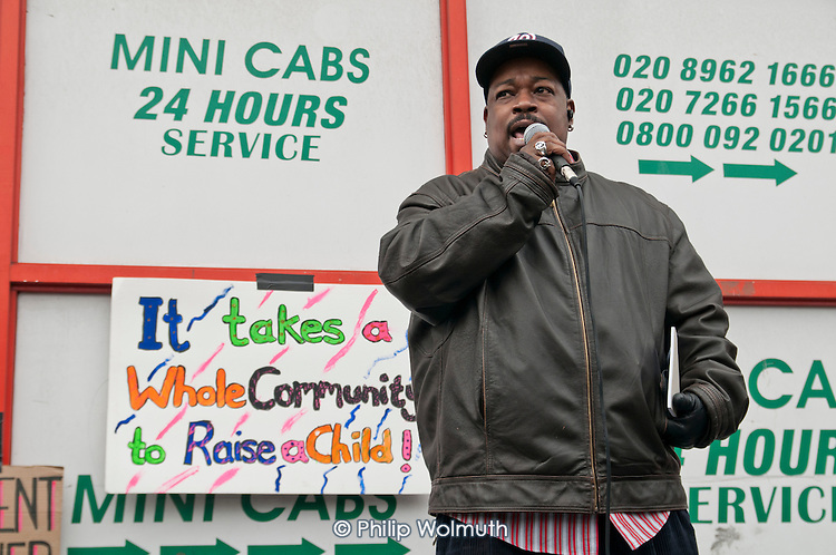 Twilight Bey, of the Endz Project.  Community Rally organised by the Tell It Parents' Action Group to launch a campaign aimed at addressing the problem of gang violence in North Westminster.