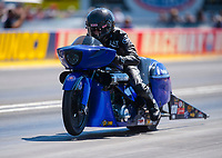 Sep 5, 2020; Clermont, Indiana, United States; NHRA pro stock motorcycle rider Ronald Tornow during qualifying for the US Nationals at Lucas Oil Raceway. Mandatory Credit: Mark J. Rebilas-USA TODAY Sports