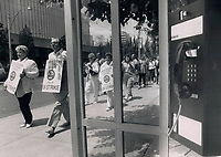 1988 FILE PHOTO - ARCHIVES -<br /> <br /> No answer: Pickets ignore a phone booth as they pass on their rounds outside Bell Canada offices on Bay St. Bell supervisors worked yesterday to repair damaged lines in Quebec as the strike by 19;000 workers reached its fifth day.<br /> <br /> 1988<br /> <br /> PHOTO : Boris Spremo - Toronto Star Archives - AQP