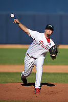 Peoria Javelinas pitcher Tyler Knigge #30, of the Philadelphia Phillies organization, during an Arizona Fall League game against the Salt River Rafters at Peoria Stadium on October 17, 2012 in Peoria, Arizona.  Salt River defeated Peoria 12-9.  (Mike Janes/Four Seam Images via AP Images)