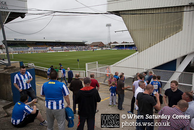 Hartlepool United 0 Middlesbrough 0, 20/07/2013. Victoria Ground, Pre-Season Friendly. Supporters of Hartlepool United enjoying a pre-match drink inside the Victoria Ground, Hartlepool, before the pre-season friendly between the home team and Middlesbrough. Hartlepool were relegated to League Two at the end of the 2012-13 season whilst their Teesside neighbours remained two divisions above them in the Championship. The game ended in a no-score draw watched by a crowd of 2307. Photo by Colin McPherson.
