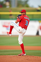 Clearwater Threshers starting pitcher Alberto Tirado (31) delivers a pitch during a game against the Palm Beach Cardinals on April 15, 2017 at Spectrum Field in Clearwater, Florida.  Clearwater defeated Palm Beach 2-1.  (Mike Janes/Four Seam Images)
